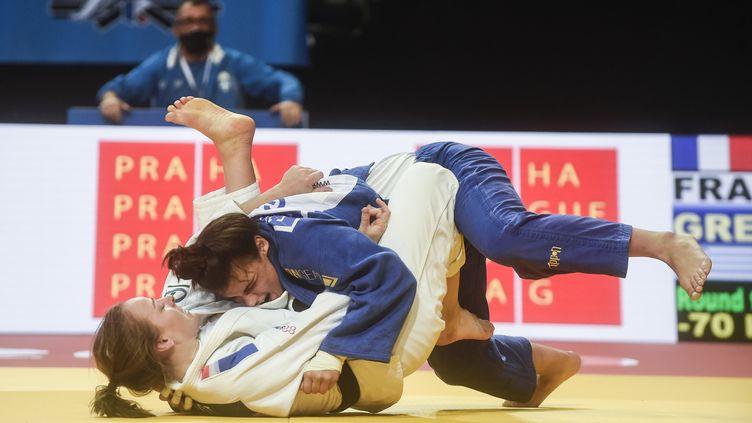 Margaux Pinot, double championne d'Europe en titre des -70kg (MICHAL CIZEK / AFP)