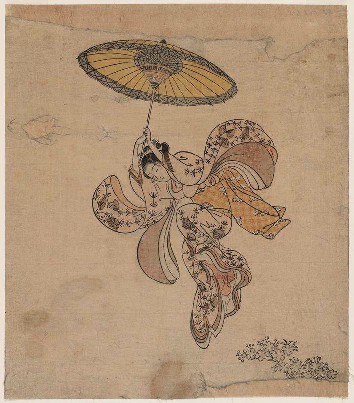 """""""Beauté sautant dans le vide depuis le balcon du temple Kiyomizu"""" (1765), par Harunobu. (CR)"""