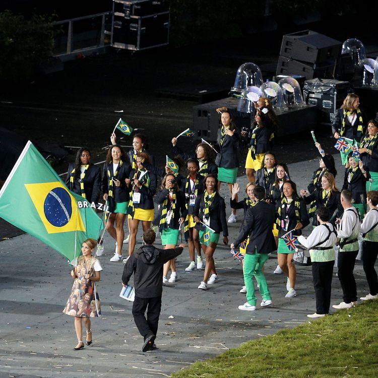 La délégation brésilienne aux Jeux olympiques de Londres, le 27 juillet 2012. (JONNE RORIZ / AGENCIA ESTADO / AFP)