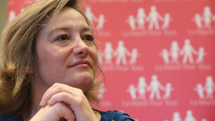 Ludovine de La Rochère, présidente de la Manif pour tous, lors d'une conférence, à Paris, le 8 mars 2014. (MAXPPP)