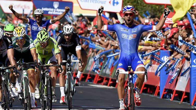 Nacer Bouhanni s'est régalé sur la première étape de la Vuelta (JOSE JORDAN / AFP)