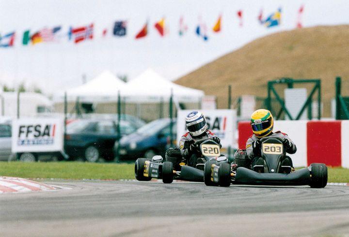 Nico Rosberg (220) à la poursuite de Lewis Hamilton (203) en karting