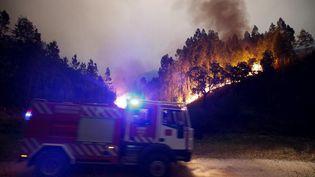 Des pompiers font face à un gigantesque incendie près de Boucca, dans le centre du Portugal, le 18 juin 2017. (RAFAEL MARCHANTE / REUTERS)