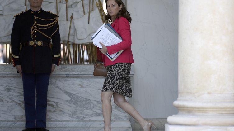 La ministre de l'Ecologie, Ségolène Royal, quitte l'Elysée mercredi 17 juin 2015 après le Conseil des ministres. (LIONEL BONAVENTURE / AFP)