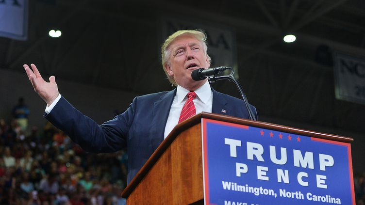 Donald Trump, le 9 août 2016 àWilmington (Caroline du Nord) . (SARA D. DAVIS / GETTY IMAGES NORTH AMERICA / AFP)