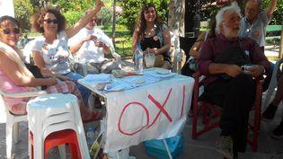 Toute la semaine, ces partisans du non ont distribués des tracts aux passants devant un bureau de vote d'Athènes. (ELISE LAMBERT/FRANCE TV INFO)