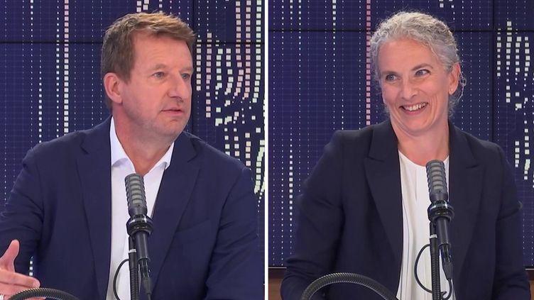 """Yannick Jadot et Delphine Bathoétaient les invités du """"8h30franceinfo"""", vendredi 10septembre 2021. (FRANCEINFO / RADIOFRANCE)"""