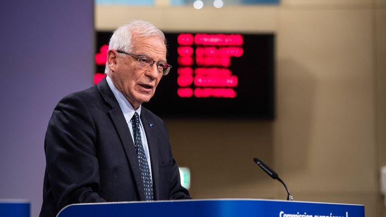 Le chef de la diplomatie européenne Josep Borrell lors d'une conférence de presse, le 30 mars 2021 à Bruxelles (Belgique). (EU COMMISSION / HANS LUCAS / AFP)
