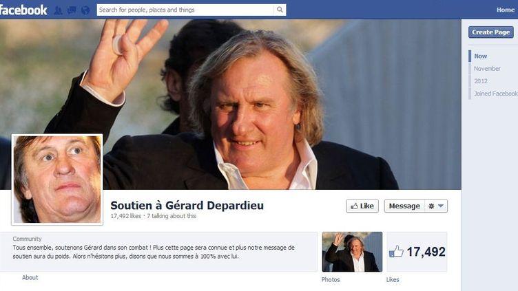 """Capture d'écran du groupe Facebook """"Soutien à Gérard Depardieu"""", le 17 décembre 2012 à 10h15. (FRANCETV INFO)"""