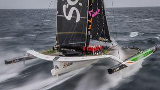 L'équipage de Sodebo Ultim 3 affiche des vitesses impressionnantes depuis le début de la tentative de record (illustration) (LOIC VENANCE / AFP)