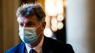 Fabien Roussel, le 30 mars 2021 à l'Assemblée nationale, à Paris. (XOSE BOUZAS / HANS LUCAS / AFP)