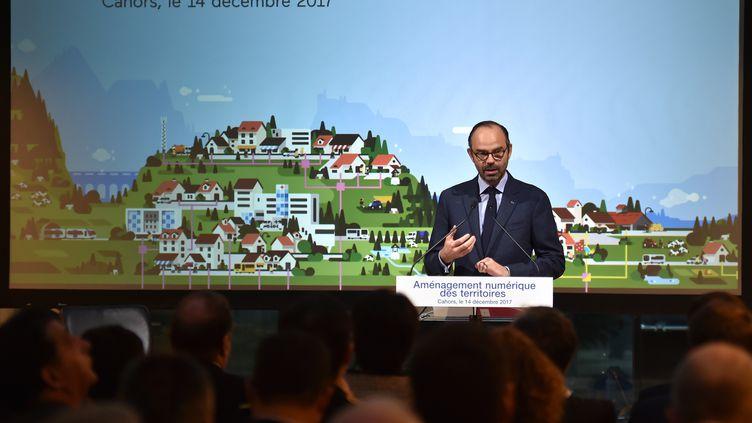 Le Premier ministre, Edouard Philippe, lors d'une conférence de presse à Cahors (Lot), jeudi 14 décembre 2017. (PASCAL PAVANI / AFP)
