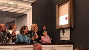 L'oeuvre de Banksy autodétruite vendredi 5 octobre chez Sotheby's.  (Banksy sur Instagram)