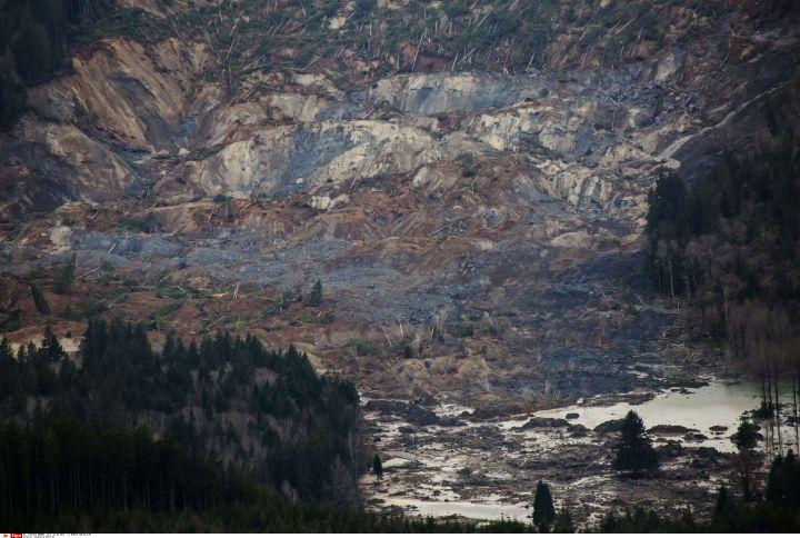 Le glissement de terrain a frappé une route entre Arlington et Darrington, dans l'Etat de Washington (nord-ouest des Etats-Unis), le 22 mars 2014. (MARCUS YAM / AP /SIPA)