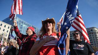 Des soutiens de Donald Trump, réunis à Washington (Etats-Unis), le 14 novembre 2020, dénoncent des fraudes lors de l'élection présidentielle américaine. (OLIVIER DOULIERY / AFP)
