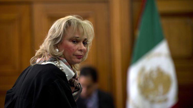 La juge Olga Sanchez Cordero, qui a défendu la libération de Florence Cassez devant la Cour suprême mexicaine, le 23 janvier 2013 à Mexico (Mexique). (YURI CORTEZ / AFP)