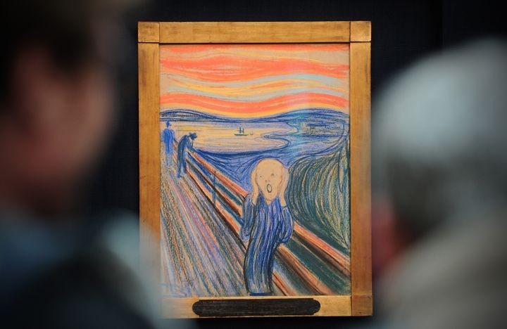 """Les scientifiques finlandais pensent que """"Le Cri"""", du peintre norvégien Edvard Munch, pourrait transmettre aux générations futures l'idée que le site sur lesquel se trouve la représentation est dangereux. (CARL COURT / AFP)"""