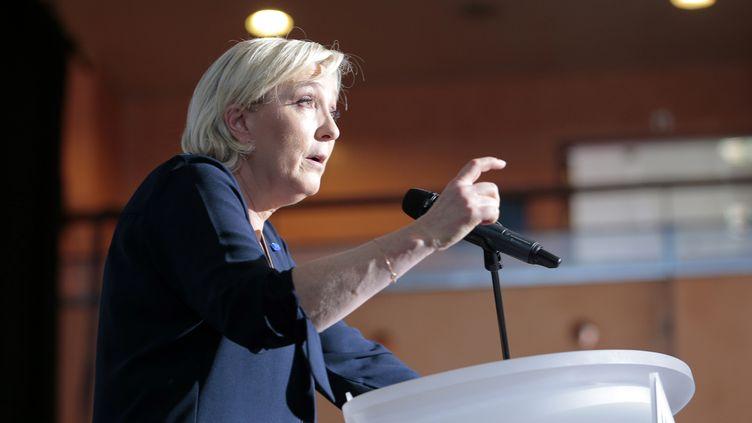 La candidate FN à la présidentielle Marine Le Pen, lors d'un meeting au Palais des congrès d'Ajaccio, le 8 avril 2017. (PASCAL POCHARD-CASABIANCA / AFP)