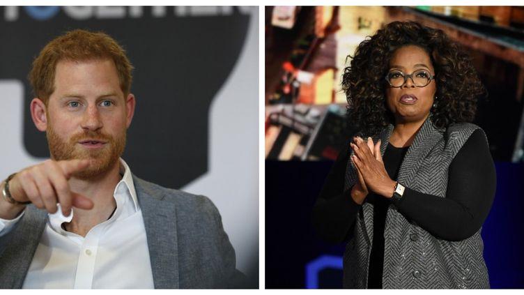 Le prince Harry et Oprah Winfrey  (Adrian DENNIS / POOL / Jamie McCarthy / GETTY IMAGES NORTH AMERICA / AFP )