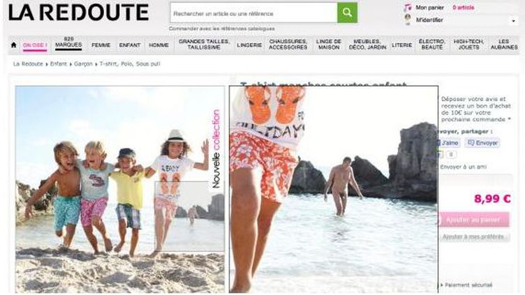 Capture d'écran du site de La Redoute, montrant la fameuse photo de l'homme nu. (D.R.)