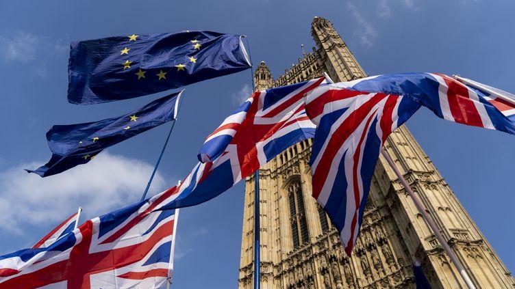 Des drapeaux européens et britanniques, le28 mars 2019, flottent devant le Parlement de Westminster, à Londres. (NIKLAS HALLE'N / AFP)
