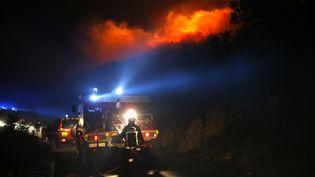 Des pompiers luttent contre les flammes sur la commune de Palasca en Corse, le 22 octobre 2017. (PASCAL POCHARD-CASABIANCA / AFP)