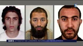 Les trois terroristes de l'attentat de Londres. (FRANCE 3)