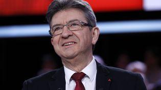 """Jean-Luc Mélenchon, candidat de La France insoumise à la présidentielle, sur le plateau de """"L'Emission politique"""", sur France 2, jeudi 23 février 2017. (PATRICK KOVARIK / AFP)"""