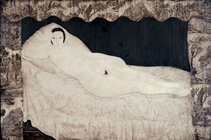 """Foujita, """"Nu à la toile de Jouy"""", 1922, musée d'Art moderne de la Ville de Paris / Roger-Viollet  (Fondation Foujita / Adagp, Paris, 2018)"""