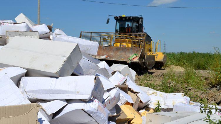 Un tracteur détruit des boîtes de fromages importés illégalement, le 6 août 2015 àBelgorod (Russie). (ROSSELKHOZNADZOR BELGOROD / AFP)
