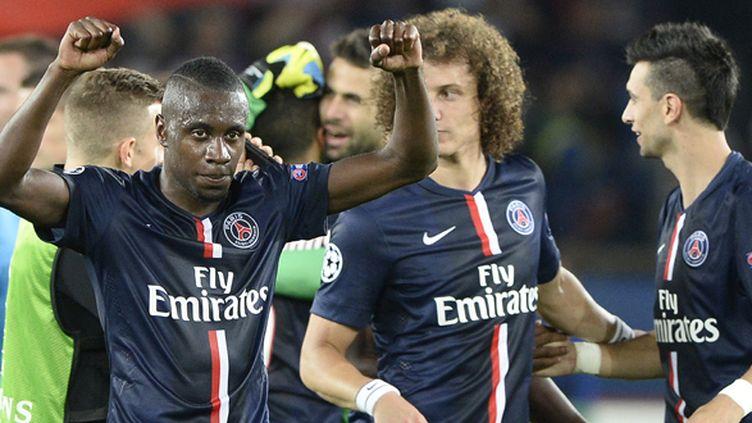 Blaise Matuidi exultent aux côtés de David Luiz et Javier Pastore (FRANCK FIFE / AFP)