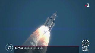 Pour l'heure, seuls les Américains ont foulé le sol du satellite de la Terre. Mais l'Europe affiche ses ambitions et aimerait bien envoyer des hommes sur la Lune à l'horizon 2030. (FRANCE 2)