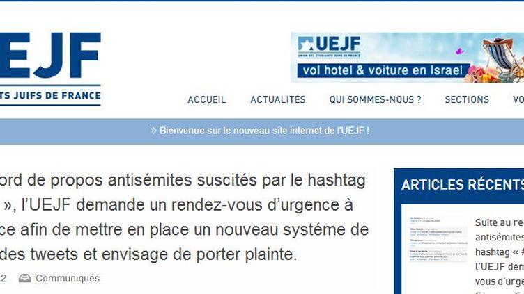 Capture d'écran du communiqué de l'UEJF. (UEJF / FTVI)