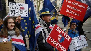 Des opposants au Brexit manifestent devant Downing Street, à Londres, le 8 janvier 2020. (DANIEL LEAL-OLIVAS / AFP)