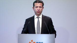 Thomas Piquemal, directeur financier d'EDF, le 16 février 2016 lors d'une conférence de presse organisée à Paris. (JACQUES DEMARTHON / AFP)