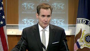 John Kirby, porte-parole du secrétaire d'Etat américain, le 1er juillet 2016 à Washington (Etats-Unis). (REUTERS TV / REUTERS)