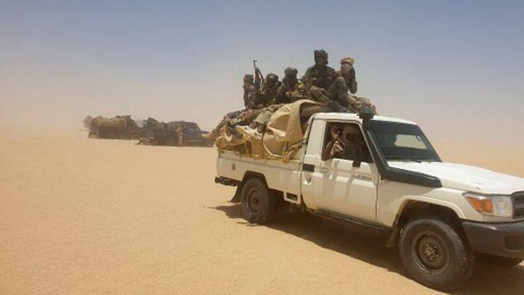 Des soldats de l'armée tchadienne pendant une opération militaire contre des rebelles, le 19 avril 2021 à Ziguey (Tchad). (ABDOULAYE ADOUM MAHAMAT / AFP)