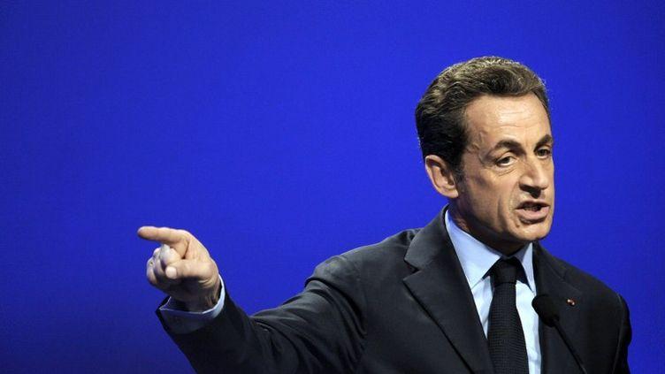 Nicolas Sarkozy en meeting à Nancy (Lorraine), le 2 avril 2012. (JEAN-CHRISTOPHE VERHAEGEN / AFP)