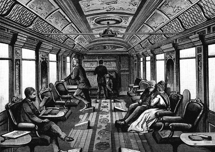 Gravure représentant un des luxueux salons de l'Orient Express (1885)  (Ann Ronan Picture Library / Photo12)