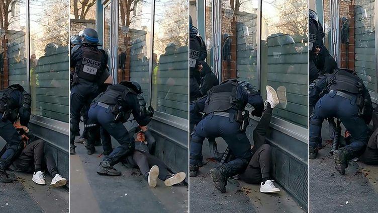 """Photomontage de plusieurs captures d'écran d'une vidéo montrant un policier frappant un manifestant à terre, le 19 janvier 2020 à Paris, lors d'une manifestation des """"gilets jaunes"""". (AFP)"""