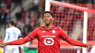 Jonathan David a ouvert le score face à Brest, samedi 23 octobre. (DENIS CHARLET / AFP)