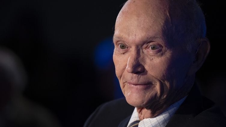 L'astronaute américain d'Apollo 11 Michael Collins à Washington, le 15 avril 2019. (ERIC BARADAT / AFP)