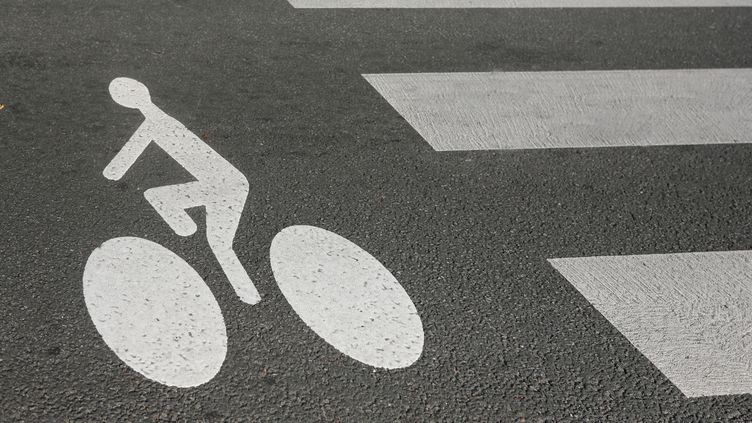 Un logo de piste cyclable, à Paris. (PHOTO12 / GILLES TARGAT  / AFP)