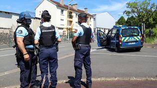 Des gendarmes en faction au Lardin-Saint-Lazare (Dordogne), le 30 mai 2021. (DIARMID COURREGES / AFP)