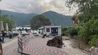 Des pluies torrentielles se sont abattues sur la province de Côme, au nord de l'Italie, mardi 27 juillet. Elles ont causé de nombreux dégâts.  (CAPTURE D'ÉCRAN FRANCE 3)