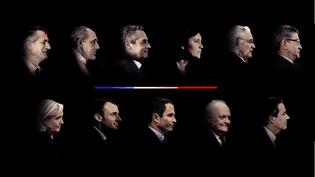 Les onze candidats à l'élection présidentielle. De gauche à droite, et de haut en bas : Jean Lassalle, Philippe Poutou, François Fillon, Nathalie Arthaud, Jacques Cheminade, Jean-Luc Mélenchon, Marine Le Pen, Emmanuel Macron, Benoît Hamon, François Asselineau, Nicolas Dupont-Aignan. (FRANCEINFO)