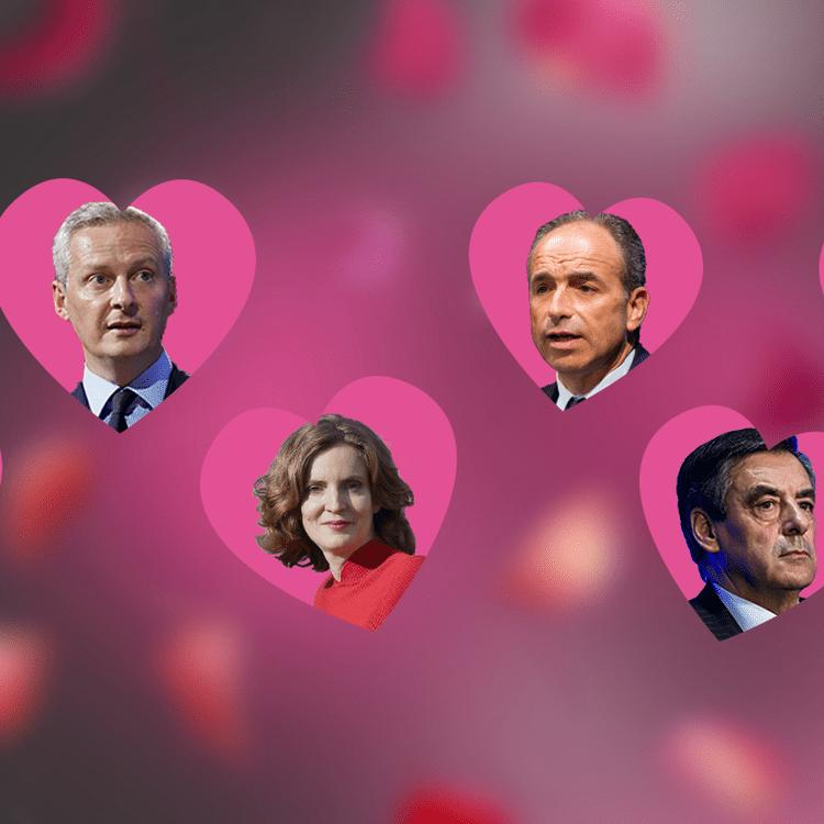 Testez les compatibilitésd'Alain Juppé, Bruno Le Maire, Nathalie Kosciusko-Morizet, Jean-François Copé, François Fillon et Nicolas Sarkozy. (FRANCEINFO)