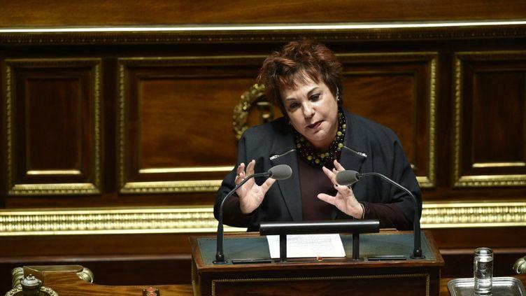 La sénatrice écologiste Esther Benbassa au Sénat à Paris, le 22 mars 2016. (MARTIN BUREAU / AFP)