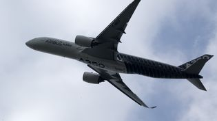 Un airbus A350, comme celui qui a survolé le phare de Cordouan. (BENJAMIN CARLSON / AFP)