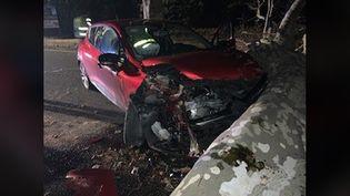 Photo d'un accident de la route sur la commune de Connaux (Gard), diffusée sur Facebook par la gendarmerie le 6 février 2019. (GENDARMERIE DU GARD)